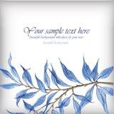 与蓝色叶子的水彩例证 皇族释放例证