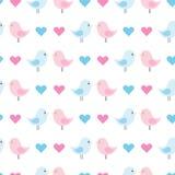 与蓝色和桃红色鸟的可爱宝贝样式 向量背景 皇族释放例证
