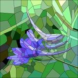 与蓝色和淡紫色花的彩色玻璃 图库摄影