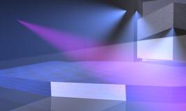 与蓝色和紫色光的阶段 免版税图库摄影