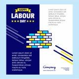 与蓝色和黄色题材传染媒介的愉快的劳动节设计与b 库存例证