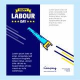 与蓝色和黄色题材传染媒介的愉快的劳动节设计与s 向量例证