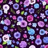 与蓝色和紫色花的无缝的样式 也corel凹道例证向量 图库摄影