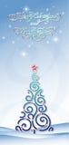与蓝色圣诞树的背景 向量例证
