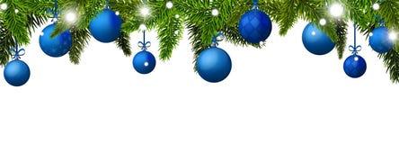 与蓝色圣诞节球的新年横幅 免版税图库摄影