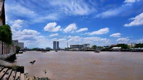 与蓝色多云天空的昭披耶河风景 库存图片