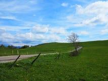 与蓝色多云天空的lansdcape 库存图片