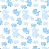 与蓝色大象的儿童` s无缝的嫩样式 库存图片