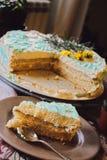 与蓝色奶油的赤裸蛋糕 免版税库存图片