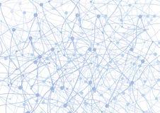 与蓝色小点和网的抽象背景 免版税图库摄影