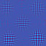 与蓝色小点的抽象错觉欧普艺术 向量例证