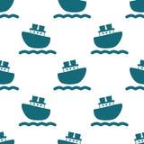 与蓝色小船和波浪的逗人喜爱的无缝的样式 图库摄影