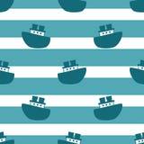 与蓝色小船的逗人喜爱的无缝的样式 免版税库存图片
