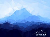 与蓝色山的三角几何背景 库存图片