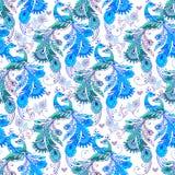 与蓝色意想不到的鸟的无缝的花卉样式 装饰或 库存图片