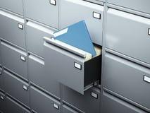 与蓝色文件的文件柜 免版税库存图片