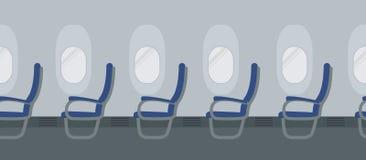与蓝色椅子的飞机内部在舷窗背景 向量例证