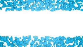 与蓝色正方形的抽象背景 与自由空间的图表例证设计或文本的 3d翻译 免版税图库摄影
