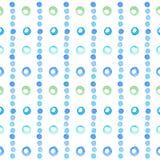 与蓝色水彩圈子的抽象无缝的样式  库存例证