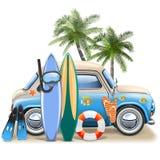 与蓝色汽车的传染媒介冲浪的概念 皇族释放例证