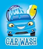 与蓝色汽车的洗车 库存例证