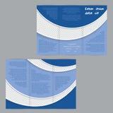 与蓝色波浪的三部合成的飞行物小册子模板 免版税图库摄影
