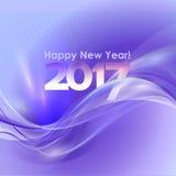 与蓝色波浪的新年快乐背景 库存照片
