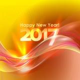 与蓝色波浪的新年快乐背景 免版税库存图片