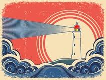 与蓝色海运的灯塔。Grunge背景 库存例证
