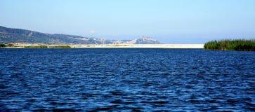 与蓝色海运的空白沙子海滩在撒丁岛 免版税图库摄影