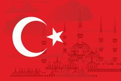 与蓝色清真寺传染媒介的土耳其标志 免版税库存图片