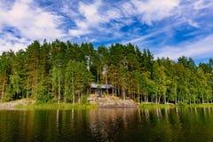 与蓝色湖和房子的田园诗乡下风景视图岸的 村庄芬兰夏天 免版税库存照片