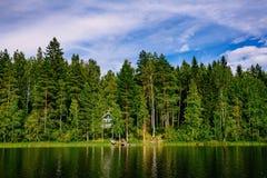 与蓝色湖和房子的田园诗乡下风景视图岸的 村庄芬兰夏天 免版税库存图片