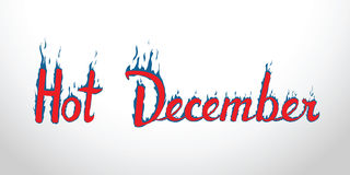 与蓝色火瓣的热的12月红色灼烧的题字 浓缩 皇族释放例证