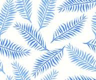 与蓝色热带叶子的无缝的样式 免版税库存图片