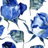 与蓝色玫瑰的无缝的样式 图库摄影