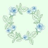 与蓝色玫瑰的花卉花圈 库存例证
