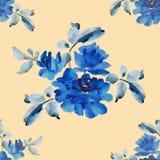 与蓝色玫瑰花束的水彩无缝的样式在黄色背景的 免版税库存图片