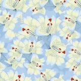 与蓝色百合的无缝的背景 背景细部图花卉向量 免版税库存照片