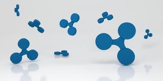 与蓝色的背景起波纹标志 3d翻译 免版税库存照片