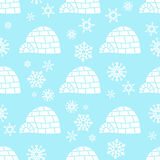 与蓝色的雪花的白熊无缝的样式白色和 图库摄影