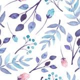 与蓝色的水彩和紫罗兰叶子的无缝的样式 免版税库存图片