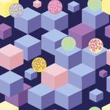 与蓝色立方体的抽象无缝的样式 库存例证