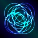 与蓝色等离子圈子作用的抽象背景 免版税库存图片