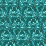 与蓝色羽毛的传染媒介无缝的样式 免版税库存图片