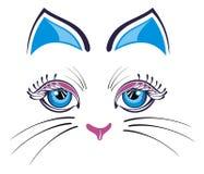 与蓝色耳朵的猫 免版税图库摄影