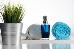与蓝色肥皂分配器的装饰的白色浴 免版税库存照片