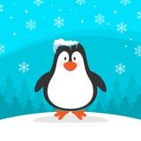 与蓝色背景传染媒介图象的冬天企鹅 库存照片