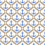 与蓝色船锚和绳索背景的无缝的船舶样式 库存照片