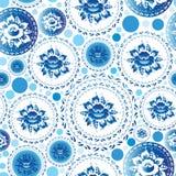 与蓝色花和叶子的葡萄酒破旧的别致的无缝的样式 免版税库存图片
